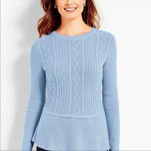 Beautiful Baby Blue Talbots Peplum Sweater Size L